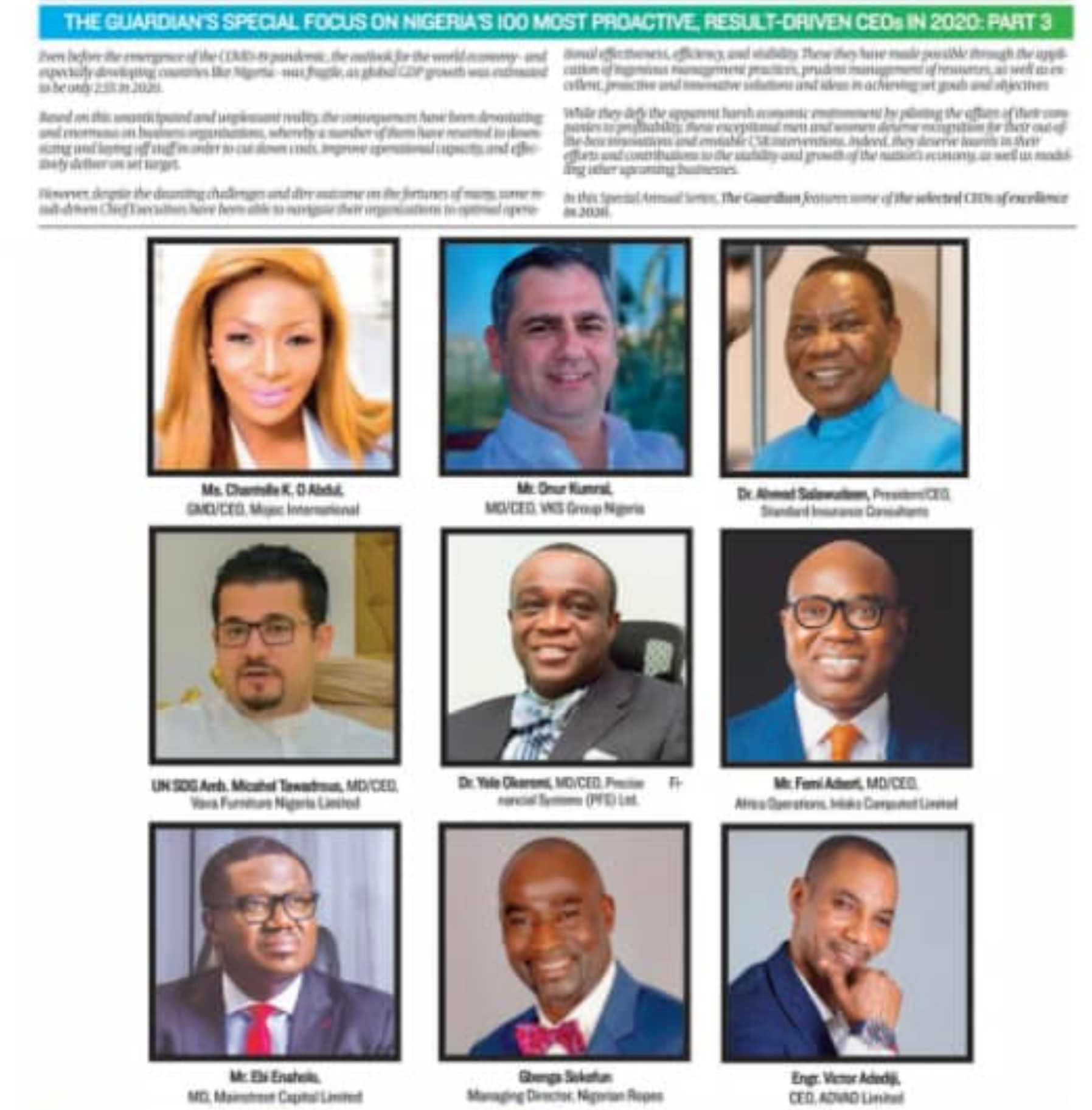 Catch Ebi Enaholos interview on Guardians Special Focus on Nigerias 100 most proactive CEO's in 2020